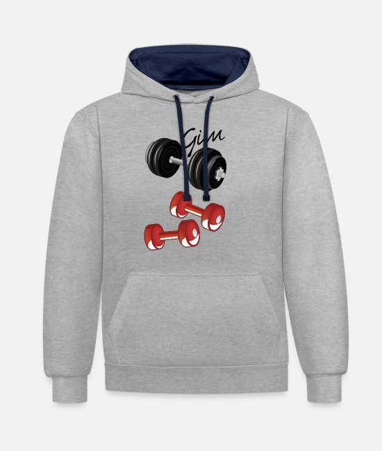 Muscular Hoodies & Sweatshirts - gym with weights - Unisex Contrast Hoodie heather grey/navy