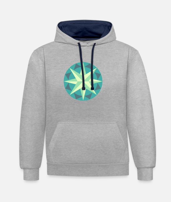 Sail Boat Hoodies & Sweatshirts - Wind rose - Unisex Contrast Hoodie heather grey/navy