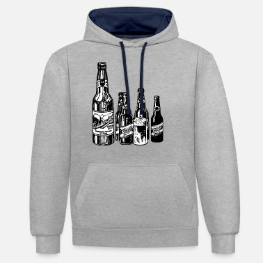 Black And White Collection Black and white design on beer collection. - Unisex Contrast Hoodie