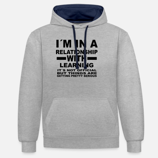 Love Hoodies & Sweatshirts - relationship with LEARNING - Unisex Contrast Hoodie heather grey/navy