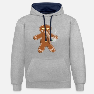 Whistle Bong smoking gingerbread man - Unisex Contrast Hoodie