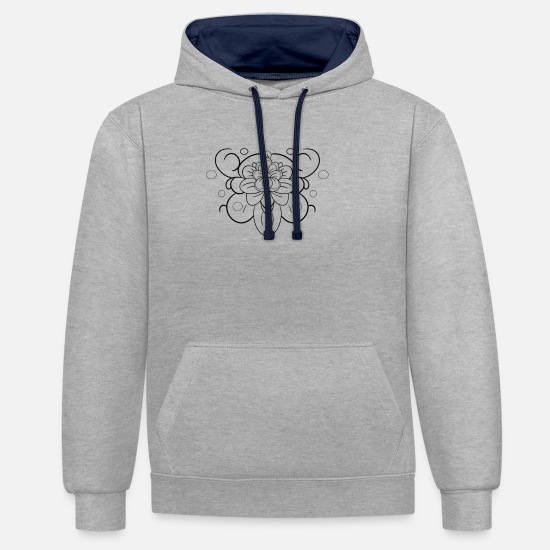 Feather Hoodies & Sweatshirts - bianconero flower - Unisex Contrast Hoodie heather grey/navy