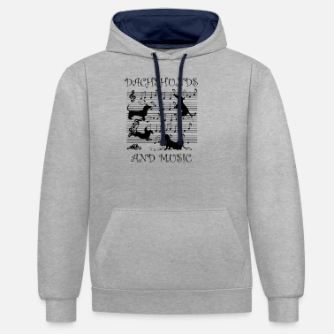 Stand Dachshund Music Notes Musician Sheet Music Key - Unisex Contrast Hoodie