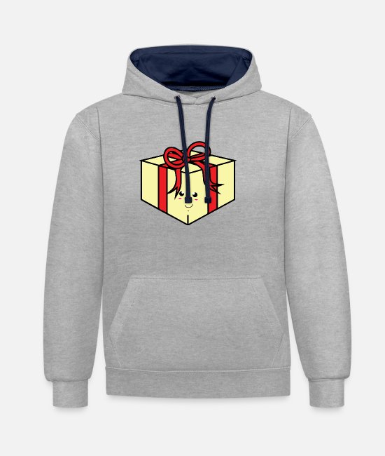 Birthday Hoodies & Sweatshirts - Birthday present with a bow - Unisex Contrast Hoodie heather grey/navy