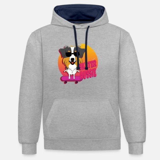 Birthday Hoodies & Sweatshirts - Skater Aussie - Unisex Contrast Hoodie heather grey/navy