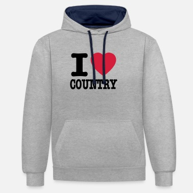 Country i love country / i heart country - Unisex kontrast hættetrøje
