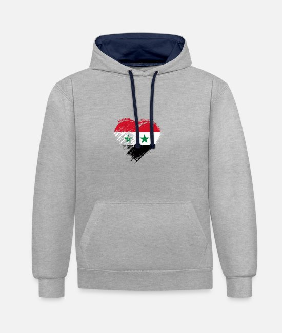 Love Hoodies & Sweatshirts - Grungy I Love Syria Heart Flag - Unisex Contrast Hoodie heather grey/navy