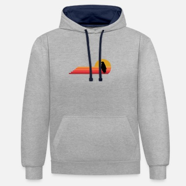 Wilderness Penguin Animal Retro Vintage Style Gift Idea - Unisex Contrast Hoodie