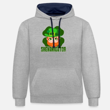 St Patricks Day Party Shirt Shamrock Beer Gift - Unisex Contrast Hoodie