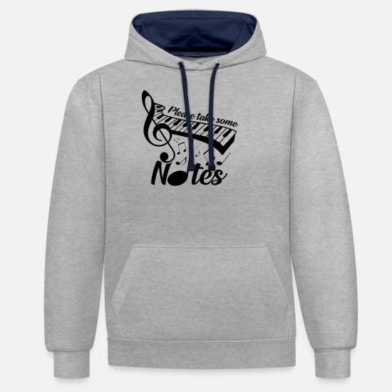 Music Note Hoodies & Sweatshirts - piano - Unisex Contrast Hoodie heather grey/navy