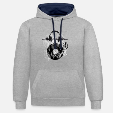 Vinyl Vinyl records vinyl player vinyl headphones - Unisex Contrast Hoodie