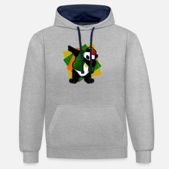Panda Hoodies & Sweatshirts - Dabbing Dab Panda Bear DJ House Hip Hop Techno - Unisex Contrast Hoodie heather grey/navy