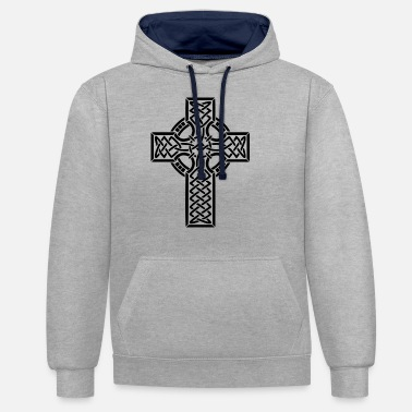 Catholic JESUS CHRIST CROSS RELIGION GIFT T-SHIRT - Unisex Contrast Hoodie