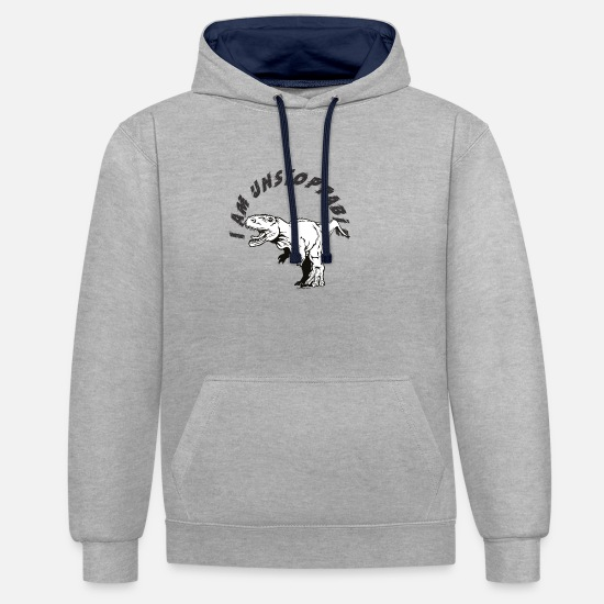Carnivores Hoodies & Sweatshirts - unstoppable T Rex - Unisex Contrast Hoodie heather grey/navy