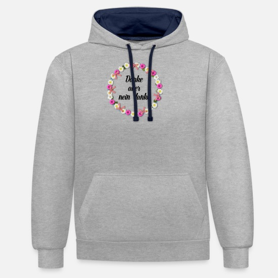 No Hoodies & Sweatshirts - no thank you - Unisex Contrast Hoodie heather grey/navy