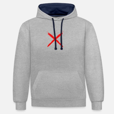 X Brush X red - Unisex Contrast Hoodie