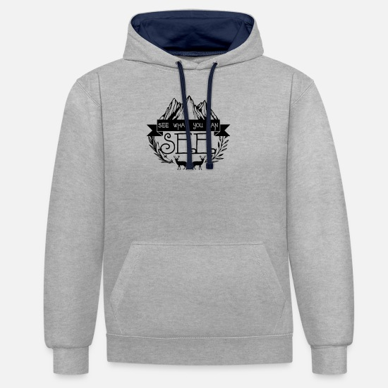 Stag Hoodies & Sweatshirts - See What You See - Unisex Contrast Hoodie heather grey/navy