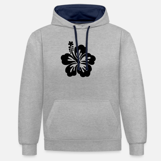 Beautiful Hoodies & Sweatshirts - Hibiskus-Bloom - Unisex Contrast Hoodie heather grey/navy