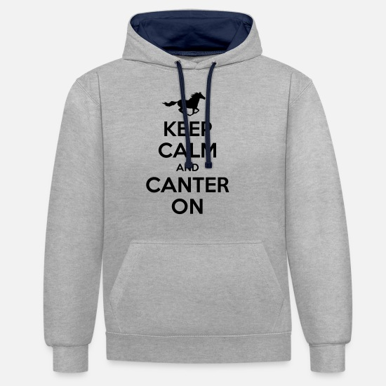 Horse Hoodies & Sweatshirts - Keep Calm and Canter on - Horse Design - Unisex Contrast Hoodie heather grey/navy