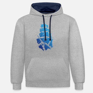 Blue ship - Unisex Contrast Hoodie
