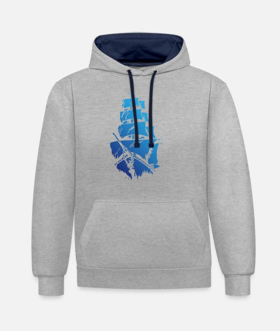 Blue White Hoodies & Sweatshirts - Blue ship - Unisex Contrast Hoodie heather grey/navy