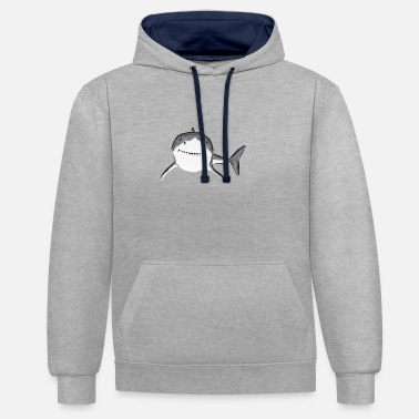 White Great White Shark III design - Unisex Contrast Hoodie