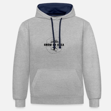 Ski Area snow go area - time for skiing and snowboarding - Unisex Contrast Hoodie