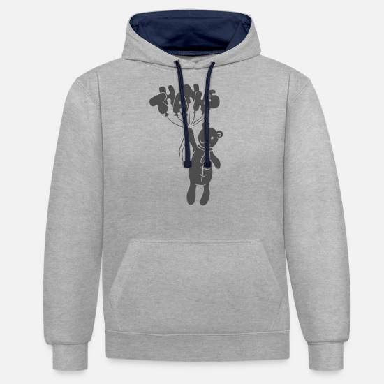 Birthday Hoodies & Sweatshirts - thanks silhouette Thank you - Unisex Contrast Hoodie heather grey/navy