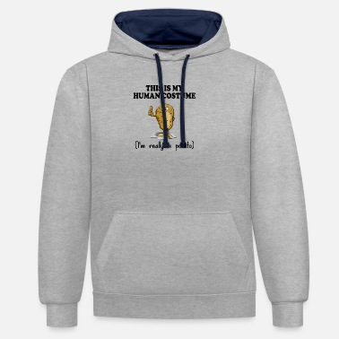 Funny Spruc This is my human costume funny potato spruc - Unisex Contrast Hoodie