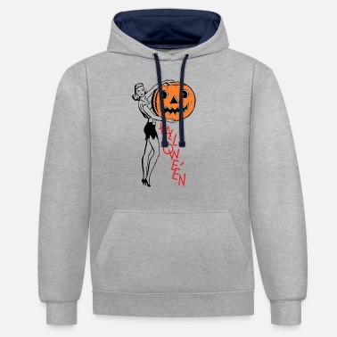 Ragazza pin-up di halloween - Felpa con cappuccio bicolore unisex