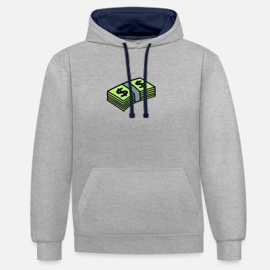 Wallstreet Money dollars 3 colors - Unisex Contrast Hoodie