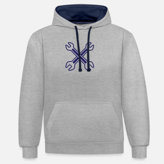 Steel Hoodies & Sweatshirts - Crossed Wrench - Unisex Contrast Hoodie heather grey/navy