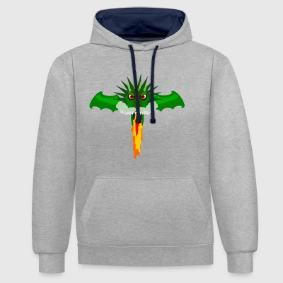 Dragon's Head which spits fire - Contrast Colour Hoodie