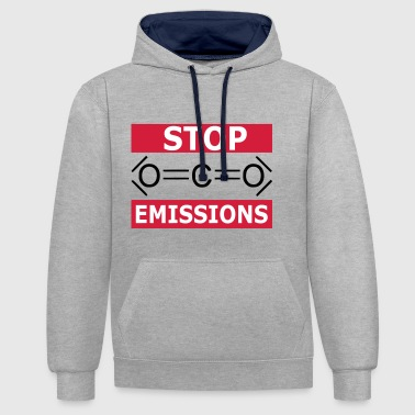 STOP CO2 EMISSIONS - CLIMATE CHANGE - Contrast Colour Hoodie