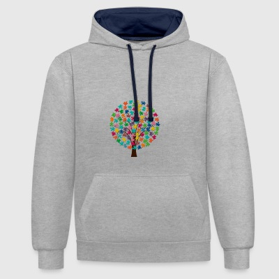 Puzzle tree - Contrast Colour Hoodie