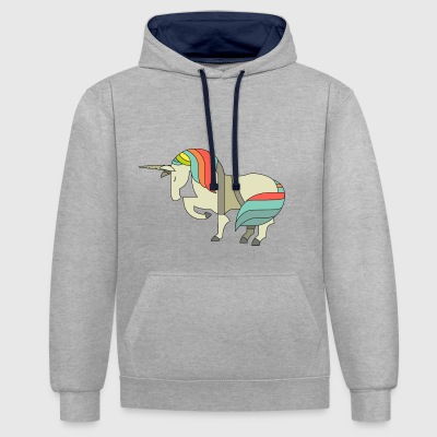 cheval cheval licorne licorne elfe onze fée fée - Sweat-shirt contraste