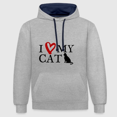 J'aime mon chat 1 - Sweat-shirt contraste