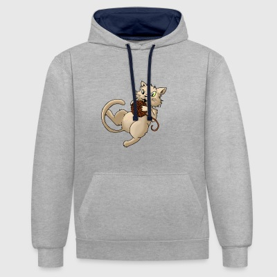 laine Cat boule de laine Kitty animaux Animaux - Sweat-shirt contraste