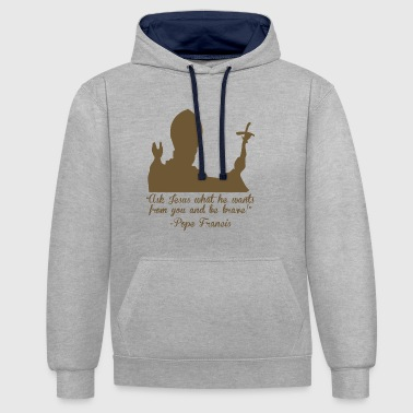 Pope Faith and Religion - Contrast Colour Hoodie