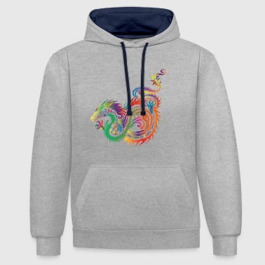 Tribal dragon - Contrast Colour Hoodie