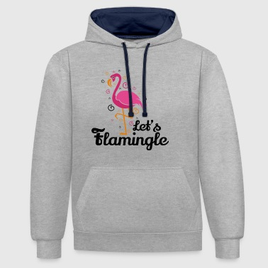 Let's flamingle Funny Flamingo T-Shirt Gift - Contrast Colour Hoodie