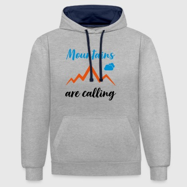 MOUNTAINS ARE CALLING - Contrast Colour Hoodie