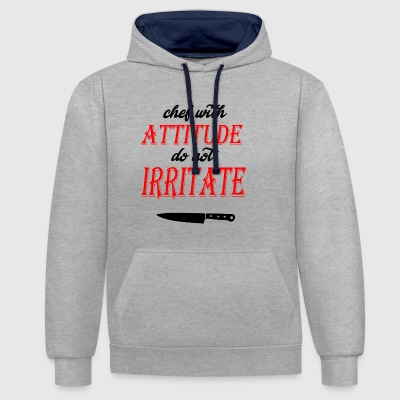 chef avec attitude knif3 - Sweat-shirt contraste