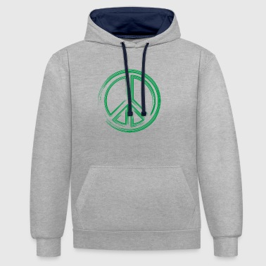 Peace green - Contrast Colour Hoodie