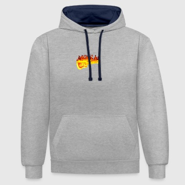 Fire guitar - Contrast Colour Hoodie