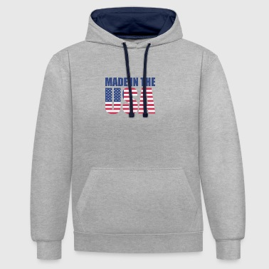 USA America Flagge Stars and Stripes Made in USA - Kontrast-Hoodie