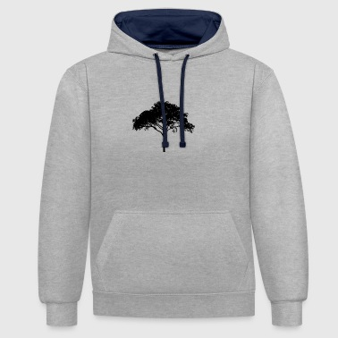 Tree of life with branches, leaves + trunk - Contrast Colour Hoodie