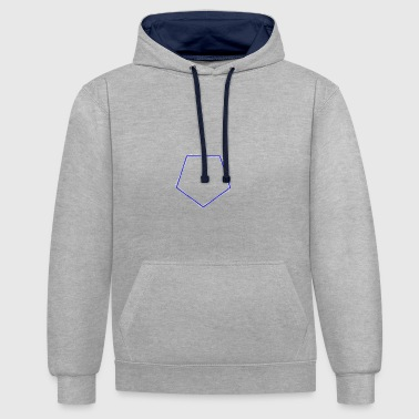 Shifted polygon Blue - Contrast Colour Hoodie