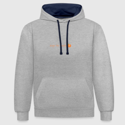 Keep the sweet peach with peach - Contrast Colour Hoodie