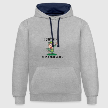 Irish I Survived A Irish Childhood - Contrast Colour Hoodie